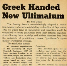Systemic Racism in Greek Life at Puget Sound in the 1960s